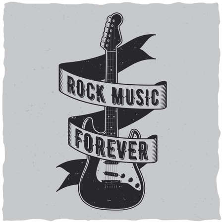 Rock music forever poster with guitar in the centre vector illustration Illustration