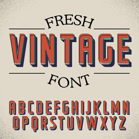 fresh idea: Fresh Vintage Font Poster on dusty noise background vector illustration Illustration
