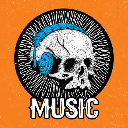 Creative Music Poster with funny skull in headphones on the orange background vector illustration