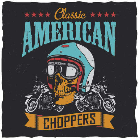 Classic american choppers poster with two classic motorcycles and ribbon on dusty background vector illustration Ilustrace