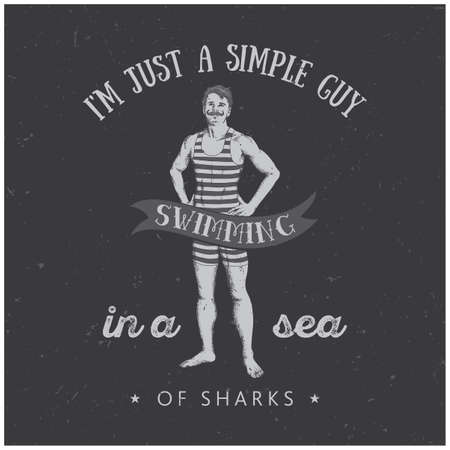 Sportive Man Poster with text about simple guy swimming in sea of sharks vector illustration