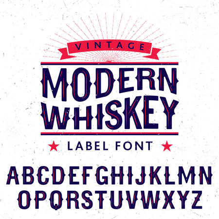 finest: Modern Whiskey Label Font Poster with decoration and stars on white background vector illustration Illustration