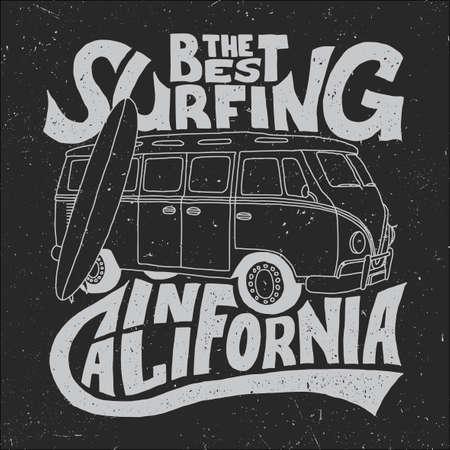 Bestes Surfer-Plakat Kaliforniens mit Bus und Brett auf wirksamer Hintergrundvektorillustration Vektorgrafik
