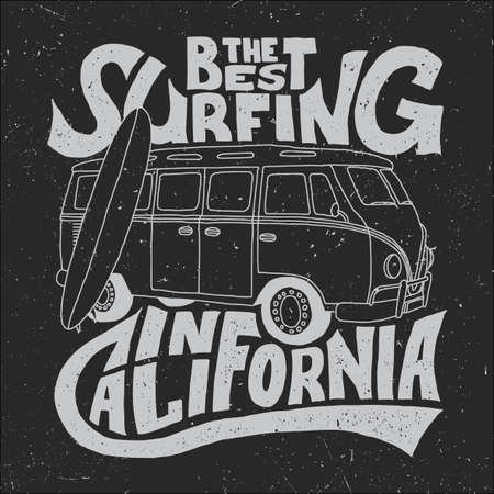 California Best Surfer Poster with bus and board on effective background vector illustration Vettoriali