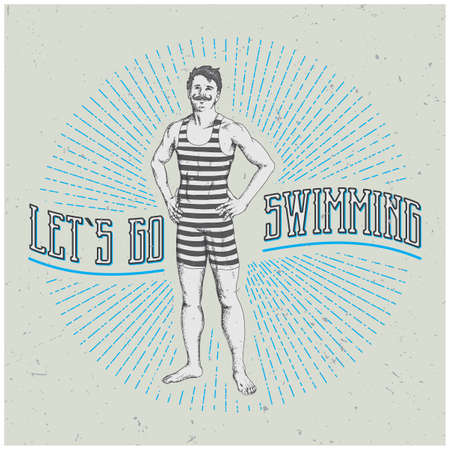 Vintage Man Poster with funny slogan Let's go swimming vector illustration