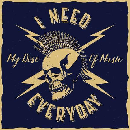 Rock music poster with phrase i need my dose of music everyday vector illustration Illusztráció