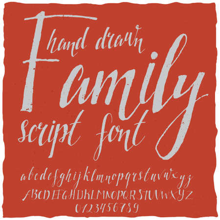open type font: Hand drawn family poster with white letters on the red background vector illustration