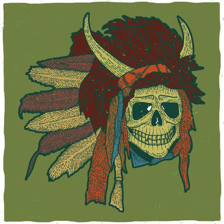 tomahawk: Colorful indian skull mask poster in woodcut style with horns vector illustration