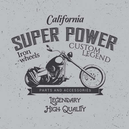 custom letters: California Super Power Poster with bike and words legendary high quality on effective background vector illustration Illustration