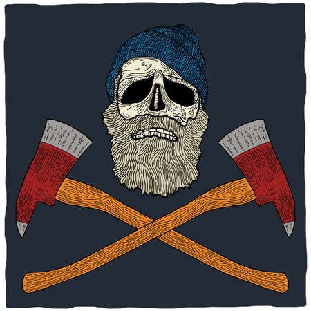 Lumberjack skull poster with hat and two axes vector illustration Illustration