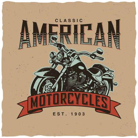 Poster classici moto americani con bici disegnati a mano per illustrazione vettoriale t-shirt Archivio Fotografico - 82033871