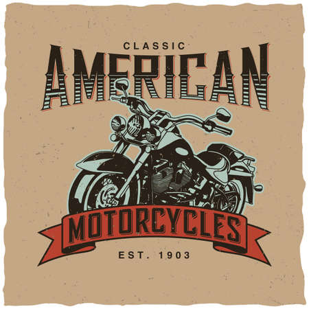 Classic american motorcycles poster with hand drawn bike for t-shirt vector illustration