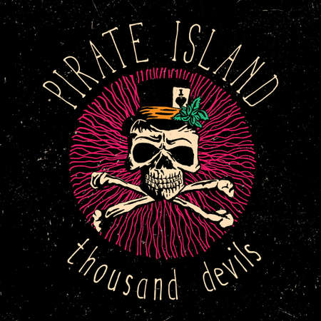 Colorful Skull Poster with phrase Pirate Island Thousand Devils and skeleton in hat vector illustration Illustration
