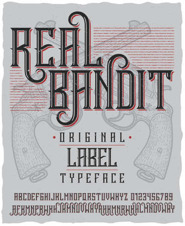 original bike: Real bandit typeface poster with hand drawn two revolvers on dusty background vector illustration