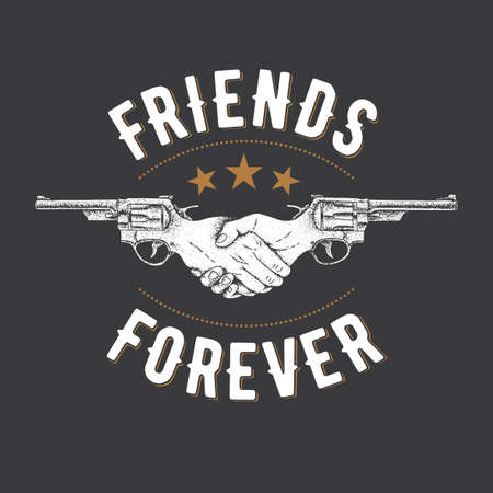 Creative Effective Poster with two revolvers and slogan friends forever vector illustration Иллюстрация
