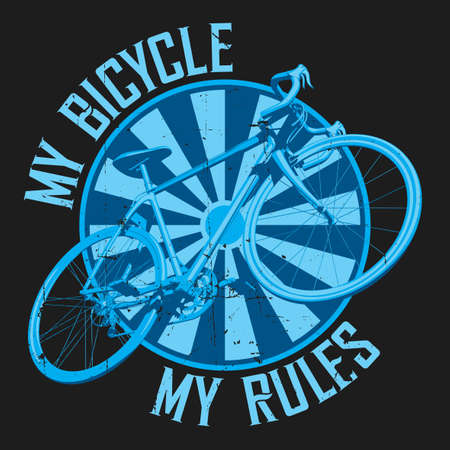 Bicycle Workout Poster with image of transport and text my bicycle my rules vector illustration