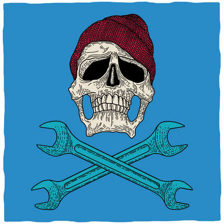 dirty t shirt: Legendary garage masters Poster with skull in hat and two wrenches vector illustration