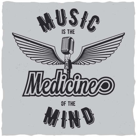 hard: Original music poster with words medicine of the mind to design for t-shirts vector illustration