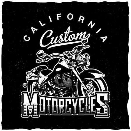 California custom motorcycles poster with hand drawn bike vector illustration Illustration