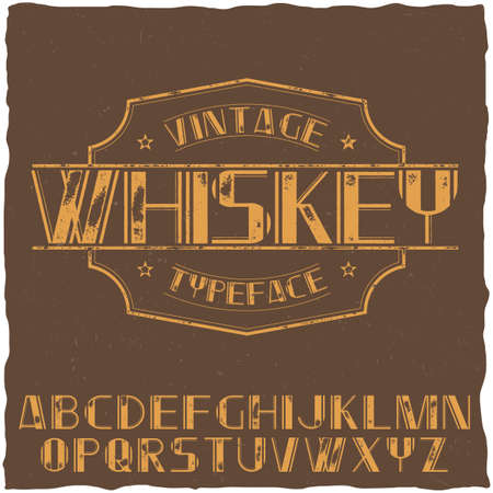 finest: Vintage label typeface named Whiskey on the brown background vector illustration