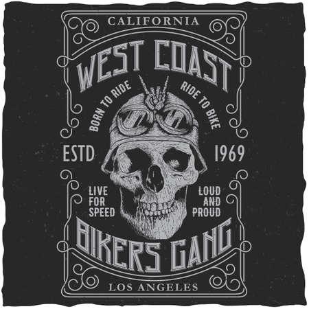 西海岸バイカー ギャング t シャツのデザインとオートバイ ヘルメット ベクトル図に頭蓋骨のポスター  イラスト・ベクター素材