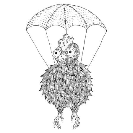 Creative Animal Poster with chalk hand drawn chicken at parachute vector illustration Illustration