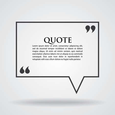 Quote Marks Blank Template Card with text in the centre vector illustration