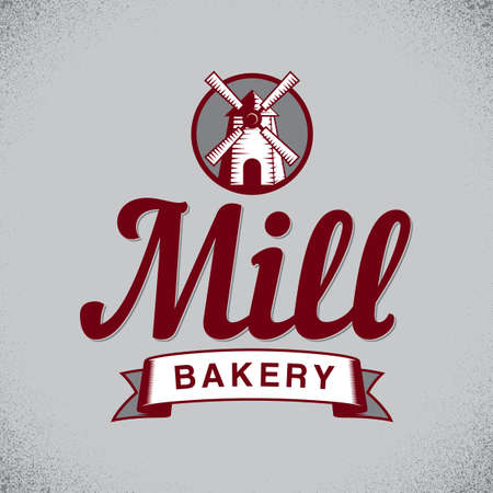 grain: Bakery Stylish Poster with cartoon of mill on grey background vector illustration