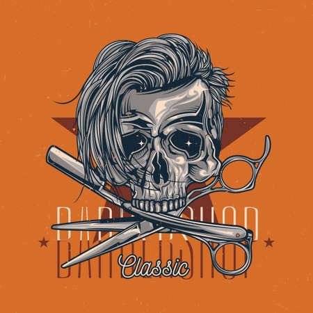 Barbershop theme t-shirt label design with illustration of hairy skull, razor and scissors.