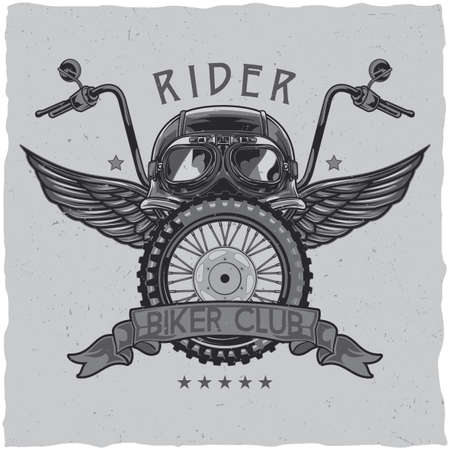 Motorcycle theme t-shirt label design with illustration of helmet, glasses, wheel and wings. Vectores