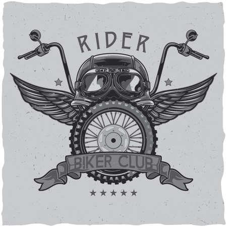 Diseño de la etiqueta de la camiseta del tema de la motocicleta con la ilustración del casco, vidrios, rueda y alas. Ilustración de vector