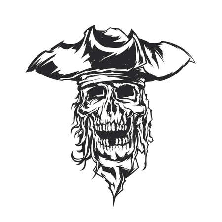 Illustration dead pirate in hat. Illustration