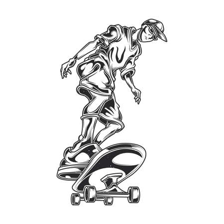 skateboard park: Illustration of man on skate board Illustration