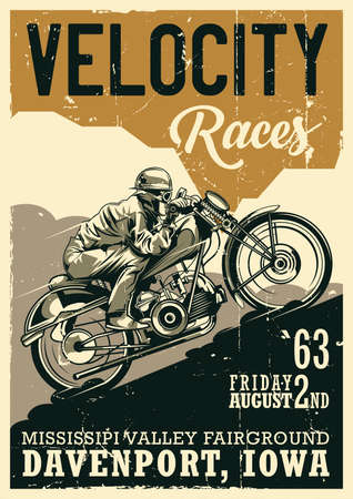 Motorcycle theme vintage poster design with illustration of biker riding on vintage motorcycle