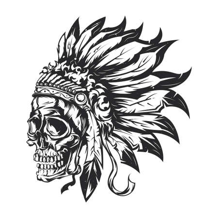 Illustration of an American Indian chief skull