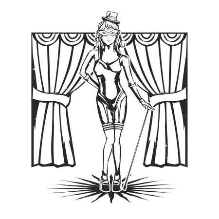 Isolierte Darstellung der Kabarett Tänzerin Mädchen Standard-Bild - 82752791