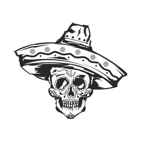 Isolated illustration of mexican skull in sombrero