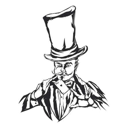 Isolated illustration of magician in hat with card in the hands Illustration