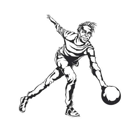 Isolated illustration of bowling player