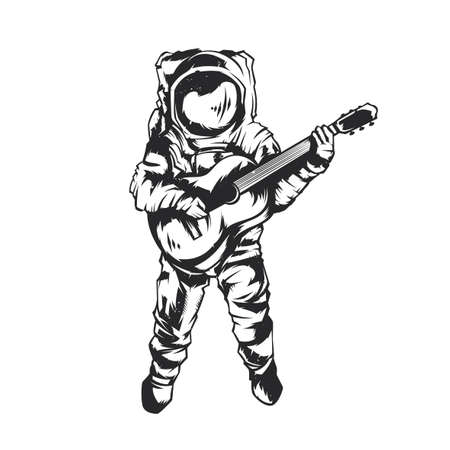 Isolated illustration of astronaut with guitar Vettoriali