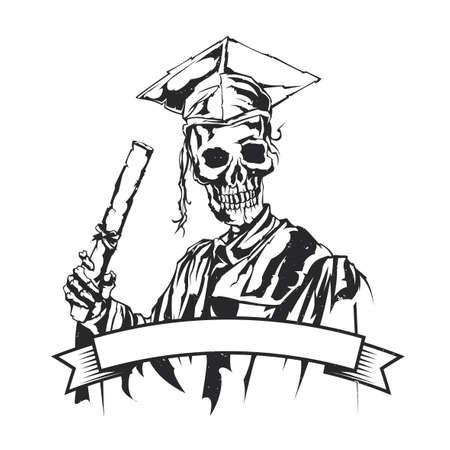Isolated illustration of graduation of skeleton Çizim