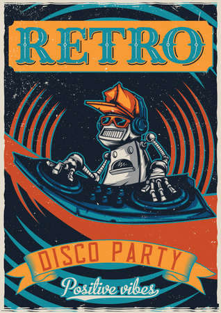 T-shirt or poster design with illustraion of robot disc jockey Vectores