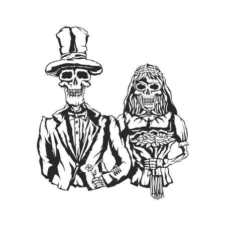 Geïsoleerde illustratie van dode bruid en bruidegom Vector Illustratie