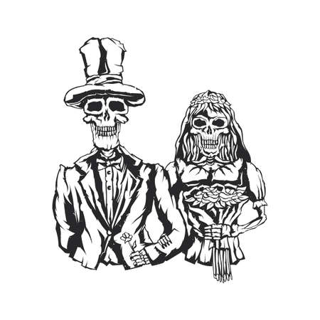 Isolated illustration of dead bride and groom