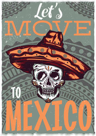 T-shirt label design with illustration of mexican skull in sombrero Illustration
