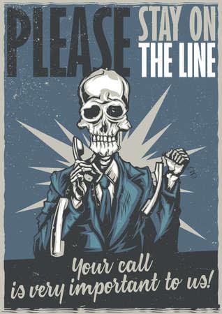 customer service representative: T-shirt or poster design with illustraion of dead call center operator Illustration