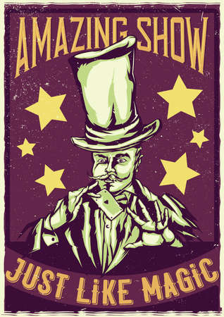T-shirt or poster design with illustraion of magician in hat with card in the hands