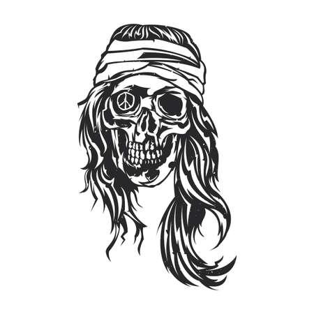 dientes sucios: Isolated illustrationof dead hippie