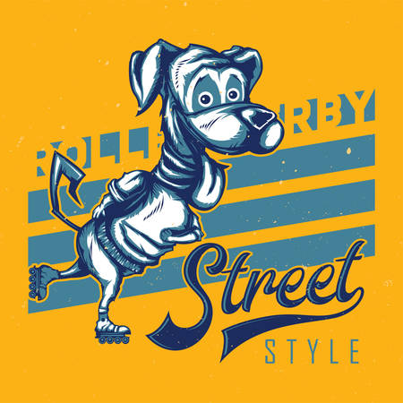 T-shirt or poster design with illustration of funny dog on roller skates