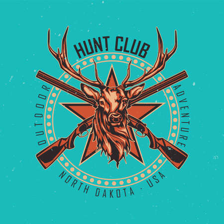 T-shirt or poster design with illustration of two rifles and deer head